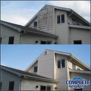 Power washing siding with softwash by Complete Power Wash