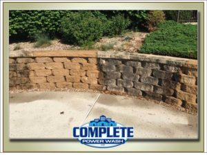 pressure washed retaining walls