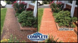 brick walk before and after pressure washing by Complete Power Wash in Hagerstown, MD