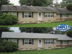 dirty shingle roof before and after pressure washing by Complete Power Wash in Hagerstown, MD