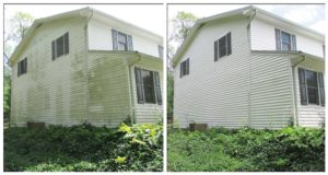 Dirty vinyl siding before power washing by Complete Power Wash