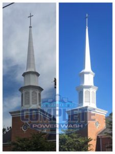 Church steeple Cleaning Before and After w CPW logo