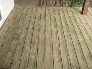 Pressure washing damage to wood deck