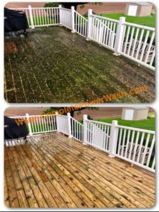 Deck before and after pressure washed by Complete Power Wash