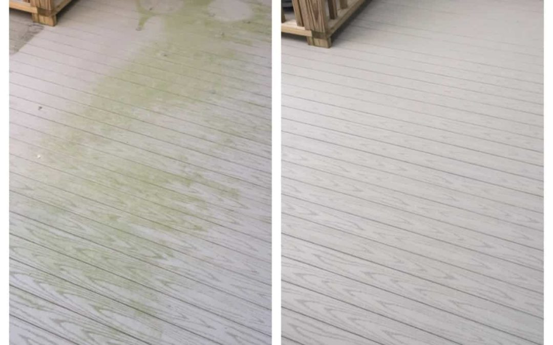 Composite deck before and after pressure washing by Complete Power Wash