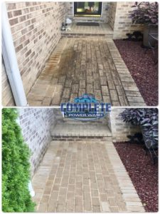 Brick cleaning before and after cleaning by Complete Power Wash in Hagerstown, MD