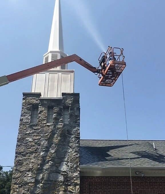 Steeple cleaning by Complete Power Wash in Hagerstown, MD.